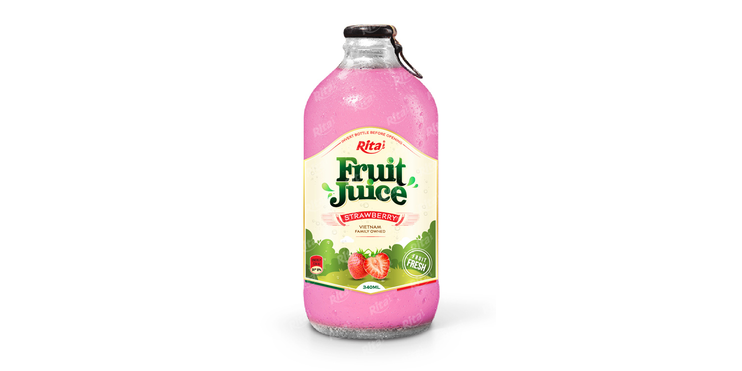 Strawberry fruit juice 340ml glass bottle