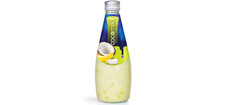 Coconut milk with  banana flavor 290ml glass bottle