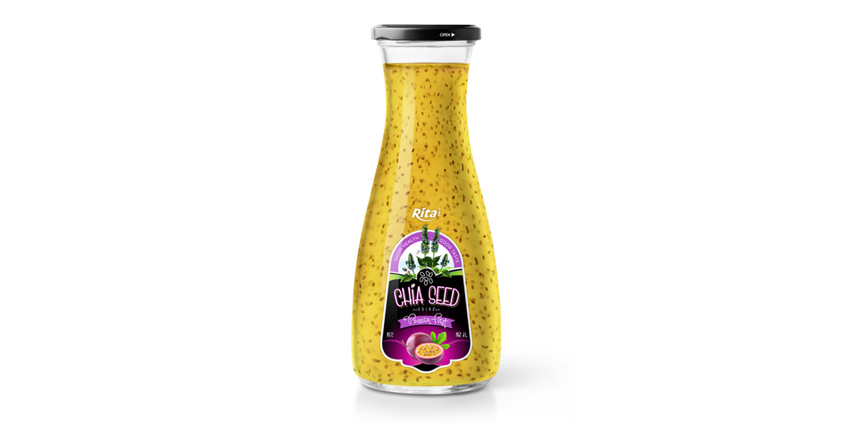 Wholesale glass Chia Seed drink plus passion flavour 1L