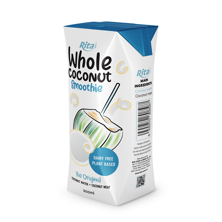 200ml aseptic whole Coconu Smoothie with coconut meat