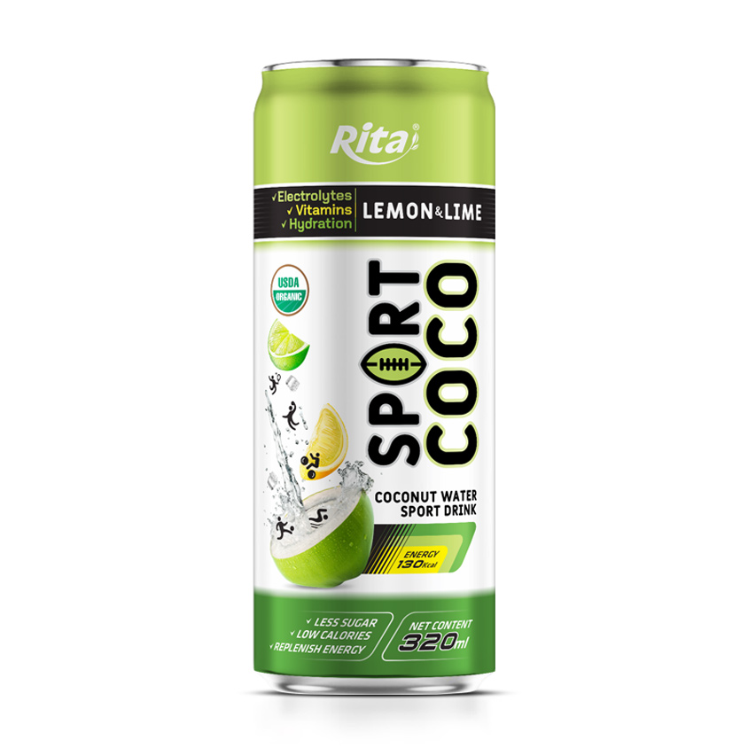 Electrolytes coconut water sport drink lime and lemon flavor