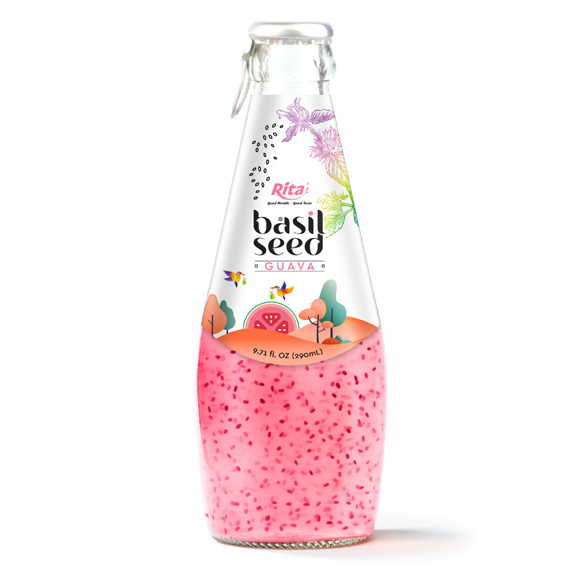 290ml Glass Bottle Basil seed guava fruit juice
