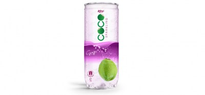 Sparking coconut water with grape flavor 250ml Pet can from Rita beverage