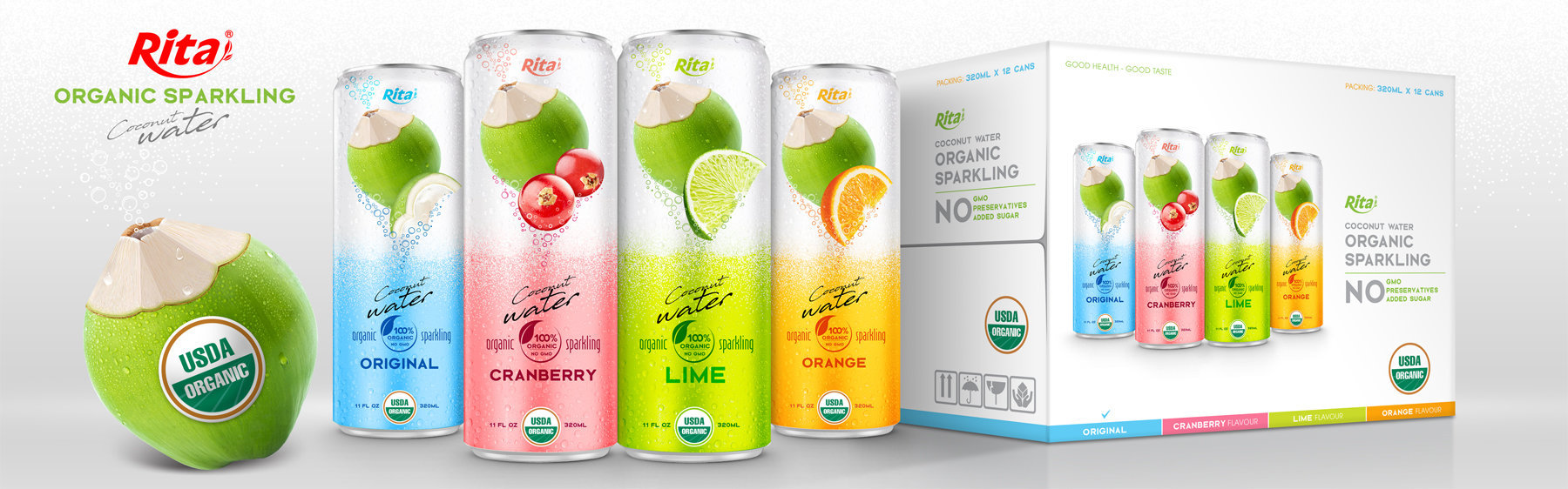 Coco Organic Sparkling with lime in 320ml can