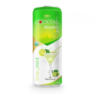 Cocktail 6% alcohol with lime and mint 320ml