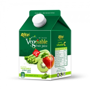 Mix tropical fruit juice with vegetable Paper box